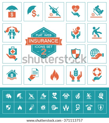 Set insurance icons set for web and mobile