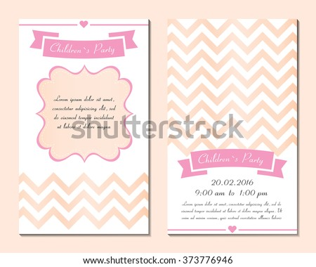 Set Invitation Childrens Day Cards Templates Stock Vector 373776946 ...
