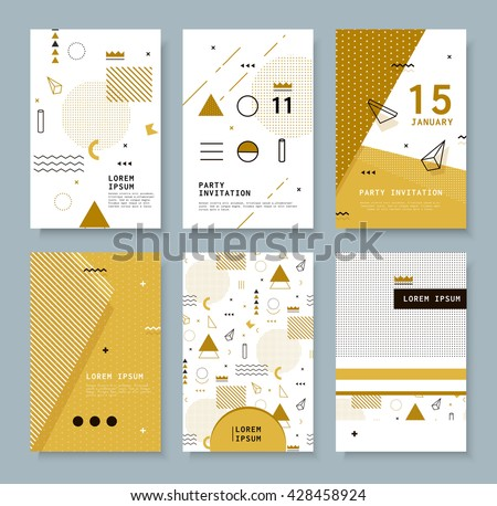 Set invitation with geometric shapes. Covers for books, postcards, notebooks, cover magazines. Hipster posters. - stock vector