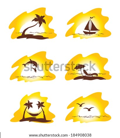 Set  - island and palms - stock vector