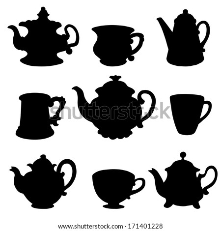Set isolated icon black silhouette kettles, teapots, coffee pot, cups, mugs. Abstract design logo. Logotype art - vector  - stock vector