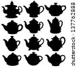 Set isolated icon silhouette kettles, teapots, coffee pot. Abstract design logo. Logotype art - vector - stock vector