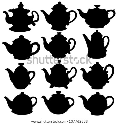 Set isolated icon silhouette kettles, teapots, coffee pot. Abstract design logo. Logotype art - vector - stock vector