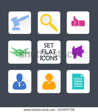 Set isolated icons for web. Flat design. Vector. - stock vector
