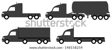 set isolated lorry with tank and body truck silhouette  - stock vector