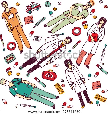 Set isolated medical objects and doctors. Separated color set with doctors and medical objects. Color vector illustration.  - stock vector