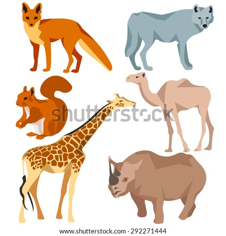 Set Isolated six colored animals fox, wolf, squirrel, rhinoceros, camel, giraffe. Animals and nature. In flat polygon style design for applications and websites. Vector illustration