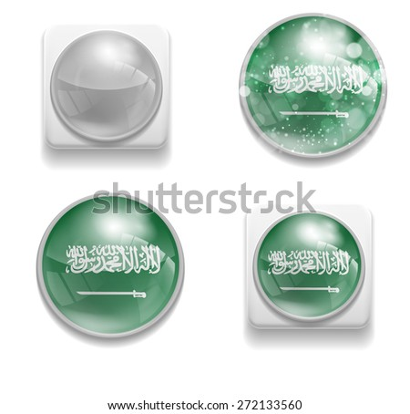 Set Isolated Vector Flag of Saudi Arabia is made in form of realistic volume glass button plastic-based on white background for brochure, printed material, element, web site, Illustration, Image, Icon - stock vector