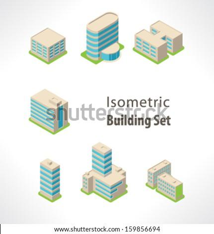 Set Isometric vector building. - stock vector