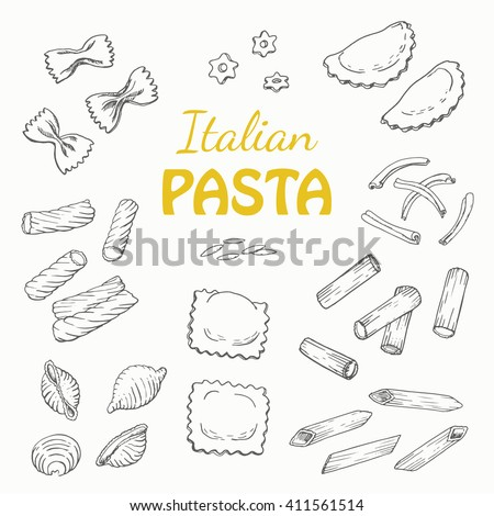 Set Italian pasta on a white background. Vector  illustration for your design