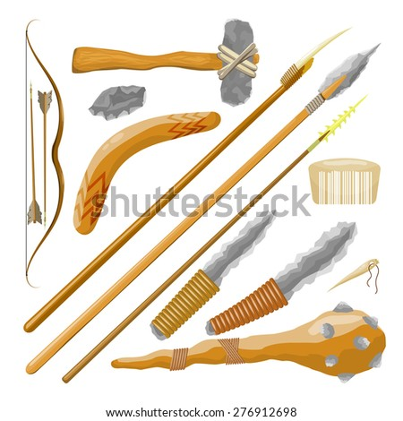 Set Items ancient people on white background. Vector illustration - stock vector