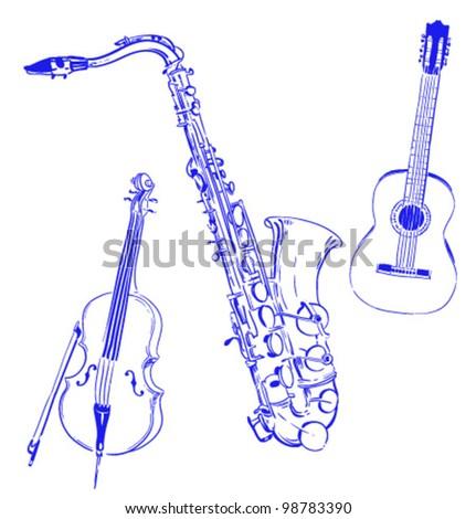 set jazz musical Instruments - stock vector