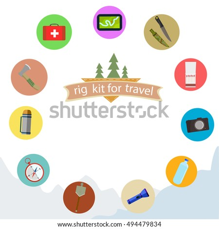 set kit for travel. Hiking and mountain icons. Vector.