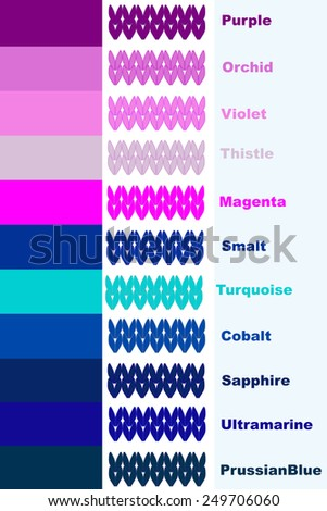 Set knitted stripes in cold color palette with color name - stock vector