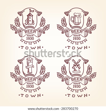 Set label of beer. Old style elements, logos, logotypes for bar, pub, brewing company, brewery, tavern, beer town, beer house. Logo collection. Vintage banners and vignette design, hand drawn set - stock vector