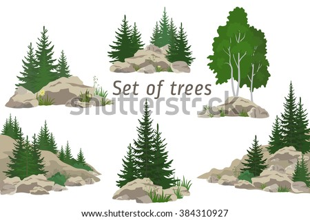 Set Landscapes, Isolated on White Background Coniferous and Deciduous Trees, Flowers and Grass on the Rocks. Vector