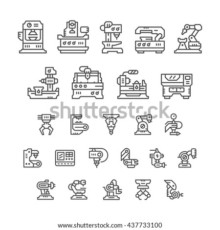 Set line icons of machine tool, robotic industry - stock vector