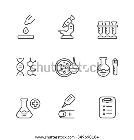 Set line icons of medical analysis isolated on white. Vector illustration - stock vector