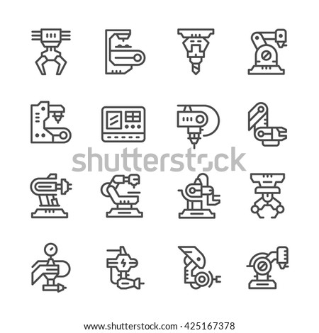 Set line icons of robotic industry - stock vector