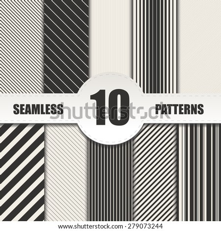 Set line seamless patterns.Vector background - stock vector