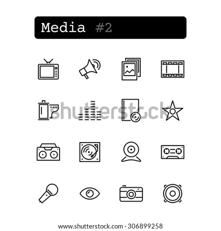 Set line thin icons. Vector. Media technology