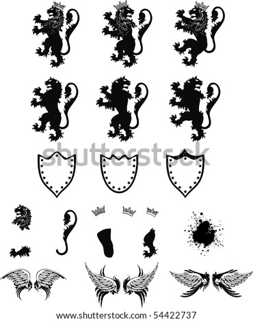 set lion coat of arms in vector format very easy to edit - stock vector