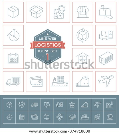 Set Logistics icons. Simple mono linear symbols. Modern thin line pictogram  - stock vector
