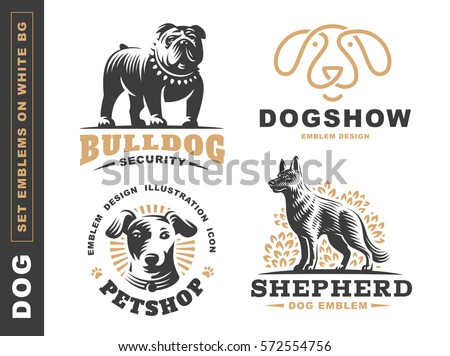 Logo Collection Different Dog Breeds Including Stock ...  Dog Breeding Logos