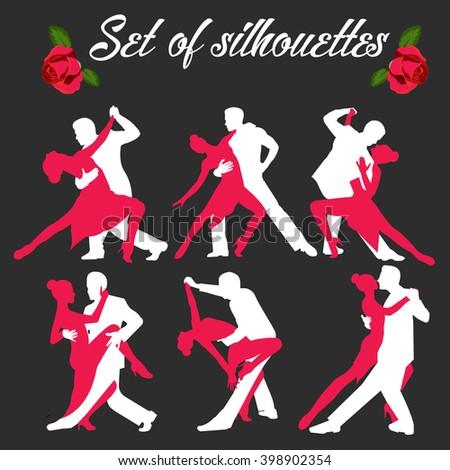 Set logo of dancing couple. Dancers tango illustrations. Dancing people set. The character set for tango. Use for tango studio posters, flayers, web-sites. Tango inscription. - stock vector