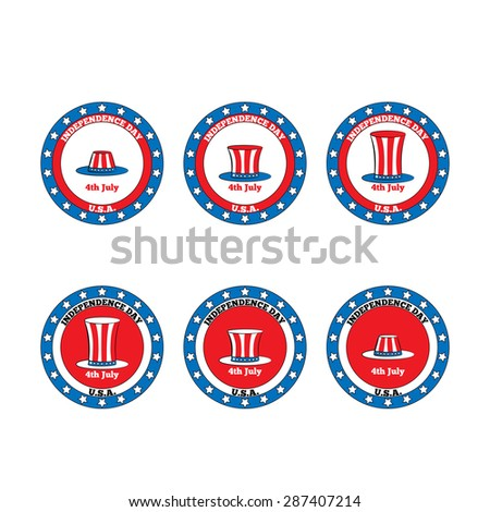 set logo Patriotic hat.  4th of July - stock vector
