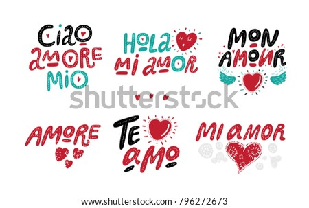 Set love handdrawn lettering love quotes stock vector 796272673 set love hand drawn lettering love quotes happy valentines day for greeting m4hsunfo
