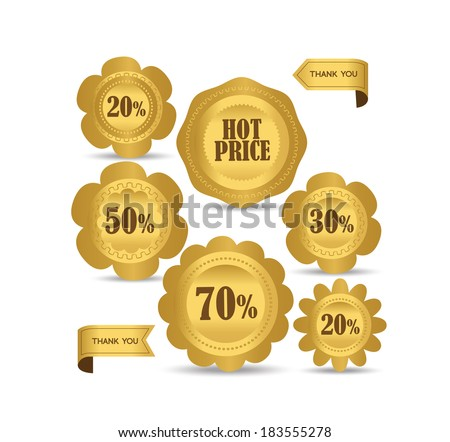 Set luxury labels and ribbons for sale - stock vector