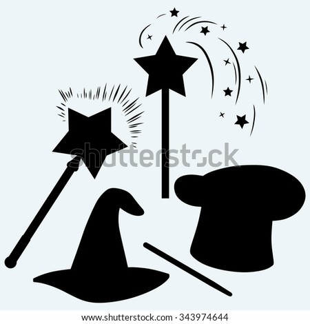 Set magic hat with magic wand sparkles. Isolated on blue background. Vector silhouettes - stock vector