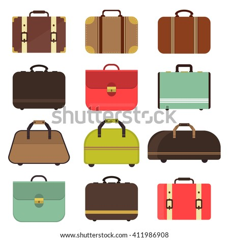 Set many types isolated travel bag for man or woman. Travel bag set and travel hand bag. Travel bag luggage suitcase journey trip and travel bag case baggage. Luggage travel bag. Leather travel bag. - stock vector