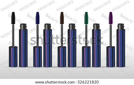 Set mascaras different colors. Vector illustration