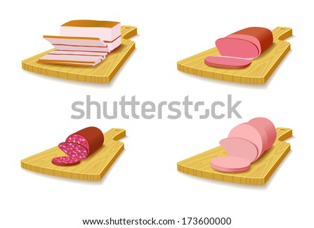 Set meat products on the cutting board are on white background.  - stock vector