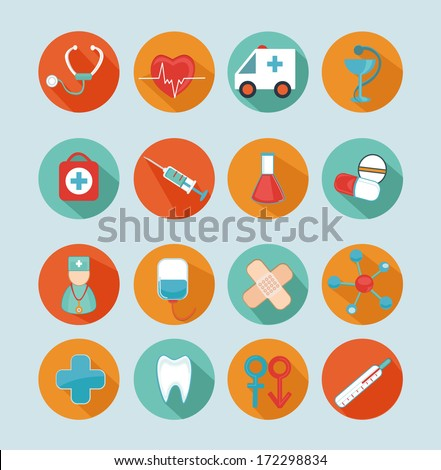 Set medical flat icons. - stock vector