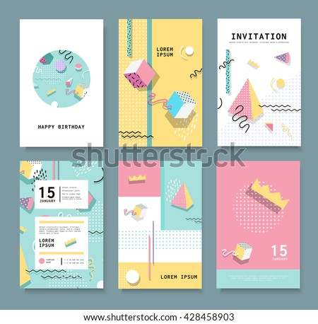 Set Memphis cards for congratulations. Hipster poster, juicy, bright color background. Invitation to a party.