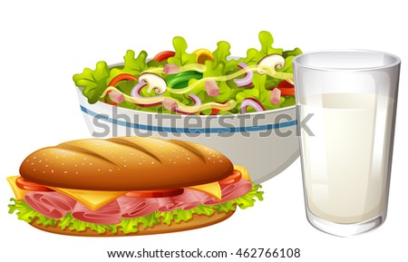 Set menu with sandwich and salad illustration
