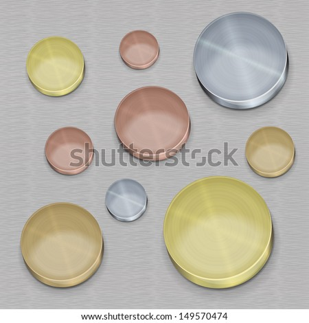set metal coins (silver, gold, copper, bronze), the buttons for an interface - stock vector