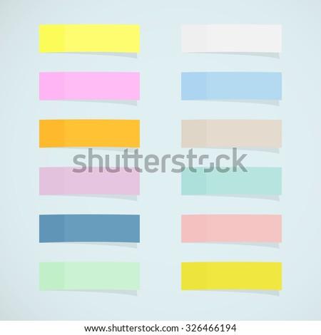 Set: mini sticky notes - stock vector