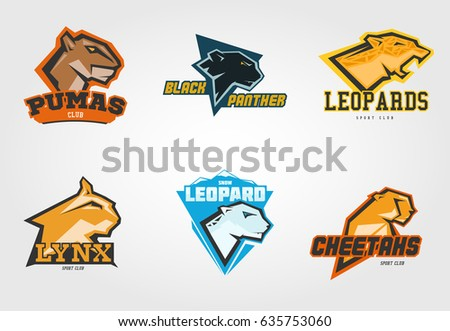 Set mockup template wild cats head symbol, logo, emblem or sticker for branding, printing, sports team. Vector illustration on white background.
