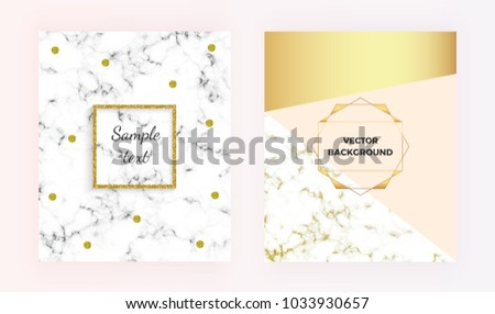 Set modern marble texture with geometric designs with gold, cream, pastel pink colors background. Glitter frame. Template for invitation, card, design, banner, wedding, posters,  flyer