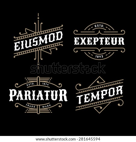 set monochrome art deco luxury antique gold hipster minimal geometric vintage linear vector frame , border , label  for your logo, badge or crest - stock vector