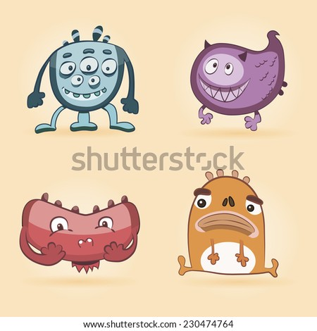 Set monsters for print. Set funny monsters. Fanny monster. Cartoon cute monsters. Ridiculous small monsters (cute) - stock vector