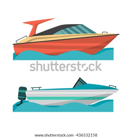 Set motor boat and small boat with outboard motor. Sea or river ship, flat cartoon illustration. Sea and river vehicles. Isolated on white background - stock vector