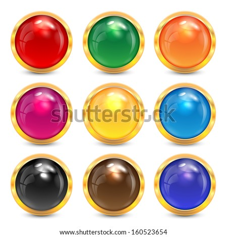 set multicolored glass buttons in a gold frame.colorful buttons for websites.vector - stock vector