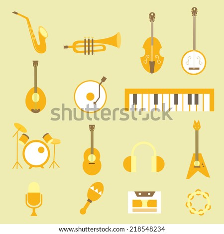 set musical flat icons - stock vector