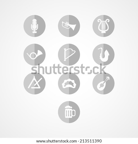 set musical instrument web icon on white background - stock vector