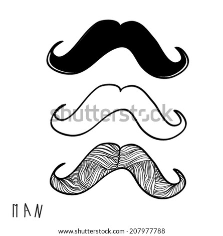 set mustaches hand drawn barber shop collection vector